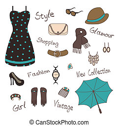 woman` s accessories - Vector illustartion of woman` s...
