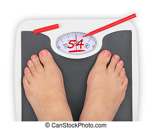Woman' s feet on bathroom scale