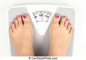 Woman? s feet on bathroom scale