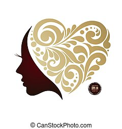 woman s silhouette, hair, beautiful icon, face in profile