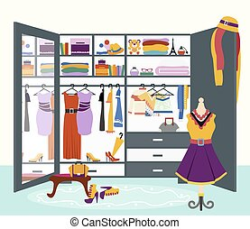 Woman s Wardrobe Vector Flat Design Illustration