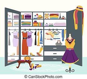 Woman s Wardrobe Vector Flat Design Illustration