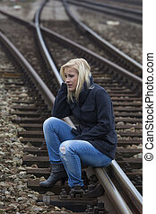 woman sad, anxious and depressed - a young woman is sad,...