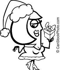woman santa with gift coloring page