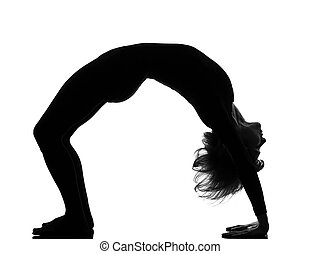 woman sarvangasana setu bandha bridge pose yoga