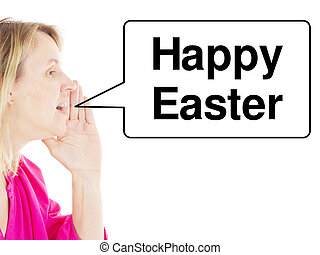 Woman saying Happy Easter