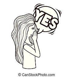 woman saying yes avatar character