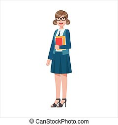 Woman School Teacher Holding Books, Part Of Happy People And Their Professions Collection Of Vector Characters