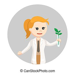 woman scientist experiment with plant in circle background