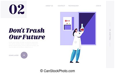 Woman Scientist Recycle Trash in Laboratory to Clean Environment and Ecology Landing Page. Garbage Utilization Service. Cleanup Rubbish Website or Web Page. Flat Cartoon Vector Illustration