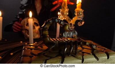 Woman, scorpion and ritual - Footage of woman during ritual...
