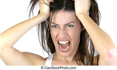 Woman screaming angry