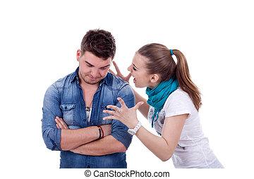 woman screaming at her boyfriend
