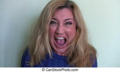 Woman screaming time lapse