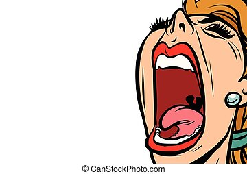 woman screaming, isolated on white background. Comic book cartoon pop art retro vector illustration drawing