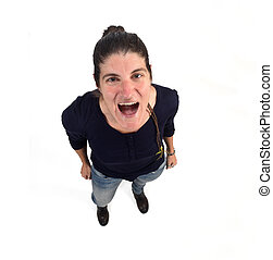 woman screaming on white background