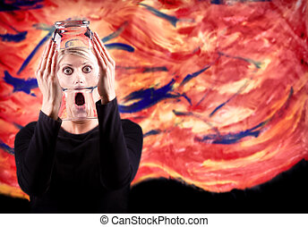 Woman screaming with distorted face