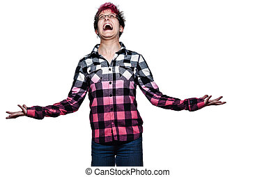 Woman screaming with joy