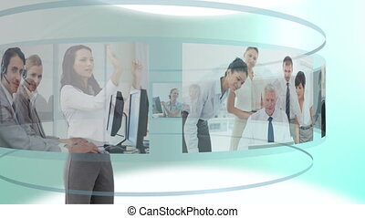 Woman scrolling business videos - Animation of woman...