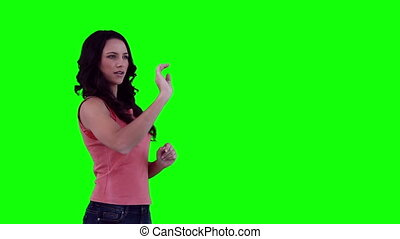 Woman scrolling through items on a virtual keyboard