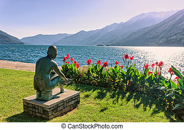 Woman sculpture at promenade in Ascona in Ticino in ...