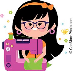 Woman seamstress using her sewing machine. Vector illustration