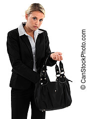 Woman searching for something in her bag