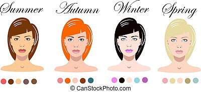 Woman seasonal color types appearance. infographics with pretty female faces.