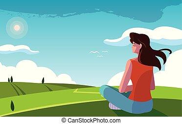 woman seated observing landscape nature vector illustration design