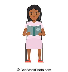Woman Seating with Open Book Flat Vector