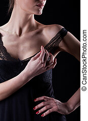 Woman seduces and takes off her bra straps - Sensual woman...