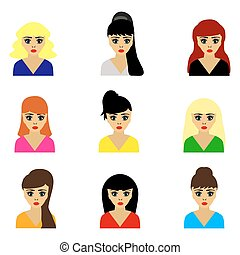 woman selection of hairstyles