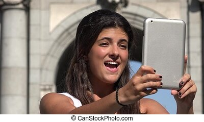 Woman Selfie With Tablet On Vacation