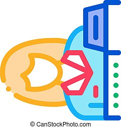 woman seller at checkout icon vector outline illustration