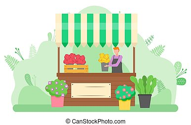 Woman Selling Bouquets of Flowers on Street Vector - Woman...