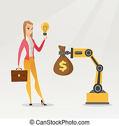 Woman selling idea of engineering of robotic hand.