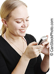 Woman sending a text message on the white background