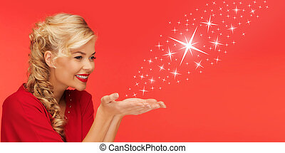 woman sending stars from palms of her hands - people,...