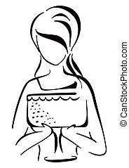 Woman serving cake - Illustration of young woman holding a...