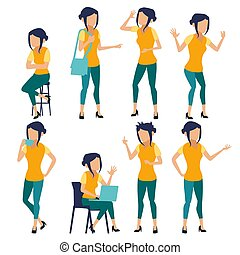 Woman Set Vector. Modern Gradient Colors. People In Action. Business Character. Creative Human. Isolated Flat Illustration