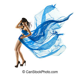 Woman Sexy Dancing in Blue Dress. Fashion Model dance with...