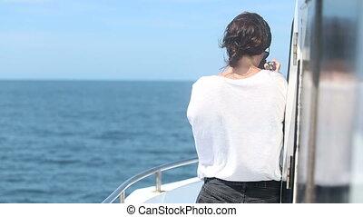 woman ship sailing ocean