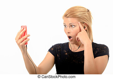 Woman shocked by a text message
