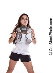 Woman shocked holding scales