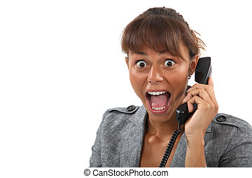 Woman shocked on the phone