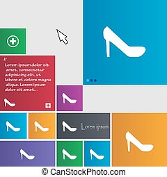 woman shoes icon sign. buttons. Modern interface website buttons with cursor pointer. Vector