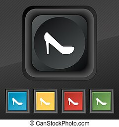 woman shoes icon symbol. Set of five colorful, stylish buttons on black texture for your design. Vector