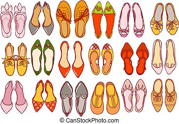 Woman shoes set. Vector colorful collection of girl's footwear.