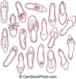 Woman shoes silhouettes pattern. Vector collection of outline footwear.