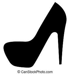 Woman shoes the black color icon .